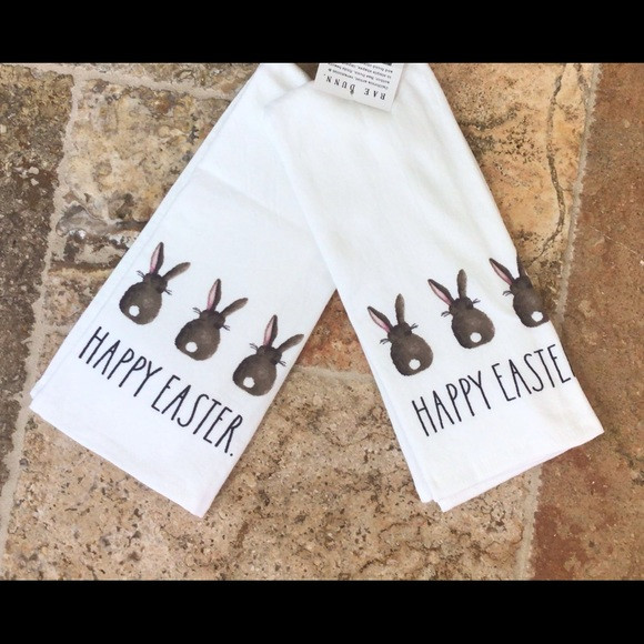 Rae Dunn HAPPY EASTER bunny tails kitchen towels